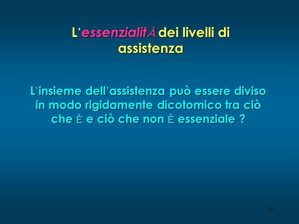 10 L essenzialit à dei livelli di assistenza L insieme dell assistenza può essere diviso in modo rigidamente dicotomico tra ciò che è e ciò che non è essenziale