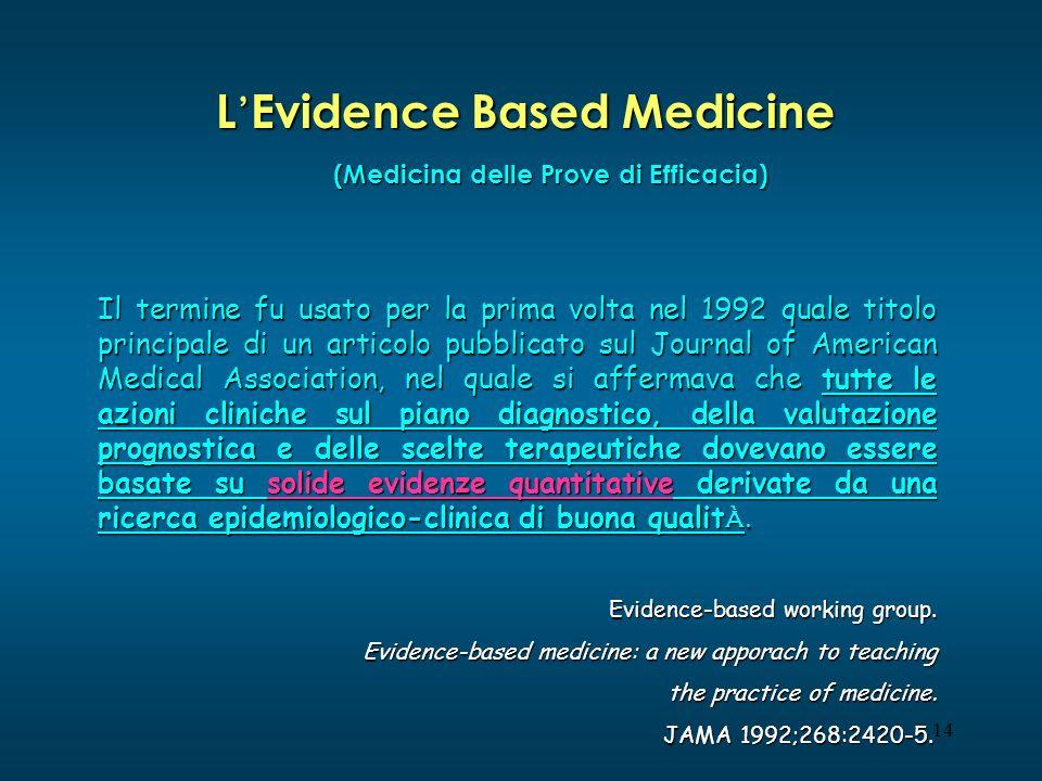 14 L Evidence Based Medicine Il termine fu usato per la prima volta nel 1992 quale titolo principale di un articolo pubblicato sul Journal of American
