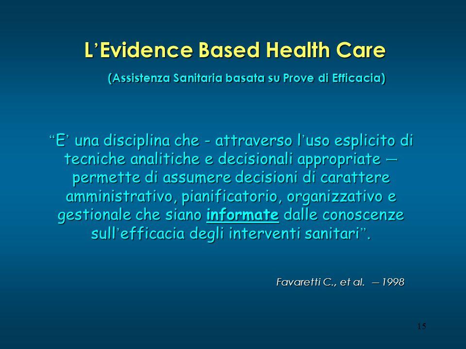 15 L Evidence Based Health Care E una disciplina che - attraverso l uso esplicito di tecniche analitiche e decisionali appropriate – permette di assum