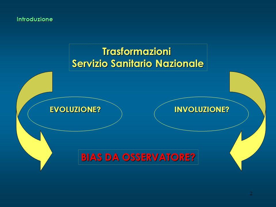 2 Trasformazioni Servizio Sanitario Nazionale INVOLUZIONE?EVOLUZIONE? BIAS DA OSSERVATORE? Introduzione