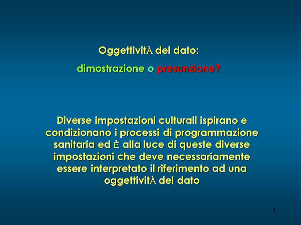 4 Oggettivit à del dato: dimostrazione o presunzione? Diverse impostazioni culturali ispirano e condizionano i processi di programmazione sanitaria ed