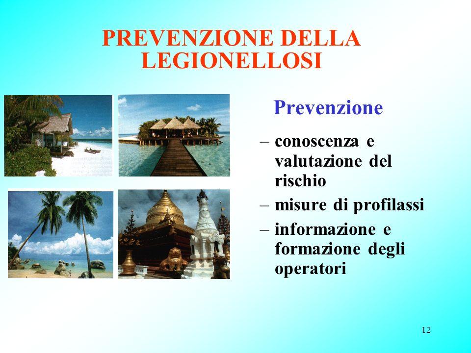 12 PREVENZIONE DELLA LEGIONELLOSI Prevenzione –conoscenza e valutazione del rischio –misure di profilassi –informazione e formazione degli operatori