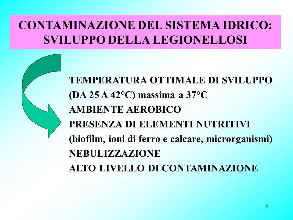 3 CONTAMINAZIONE DEL SISTEMA IDRICO: SVILUPPO DELLA LEGIONELLOSI TEMPERATURA OTTIMALE DI SVILUPPO (DA 25 A 42°C) massima a 37°C AMBIENTE AEROBICO PRES