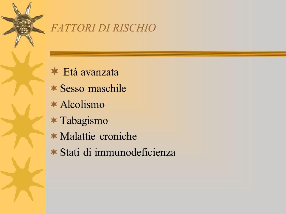 FATTORI DI RISCHIO Età avanzata Sesso maschile Alcolismo Tabagismo Malattie croniche Stati di immunodeficienza