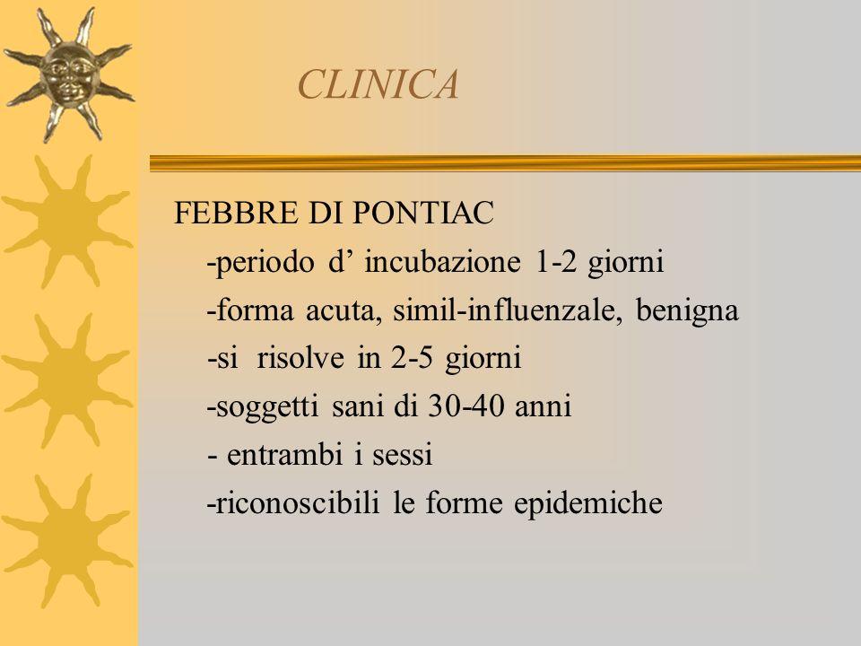 CLINICA FEBBRE DI PONTIAC -periodo d incubazione 1-2 giorni -forma acuta, simil-influenzale, benigna -si risolve in 2-5 giorni -soggetti sani di 30-40 anni - entrambi i sessi -riconoscibili le forme epidemiche