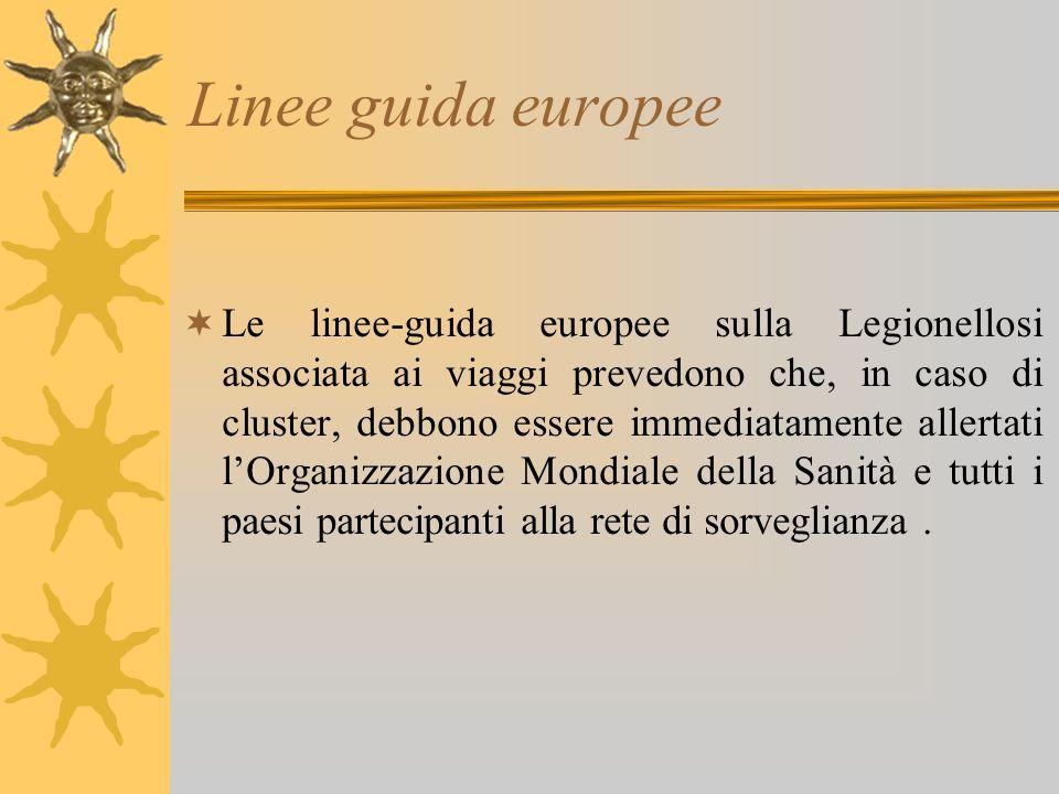 Linee guida europee Le linee-guida europee sulla Legionellosi associata ai viaggi prevedono che, in caso di cluster, debbono essere immediatamente allertati lOrganizzazione Mondiale della Sanità e tutti i paesi partecipanti alla rete di sorveglianza.