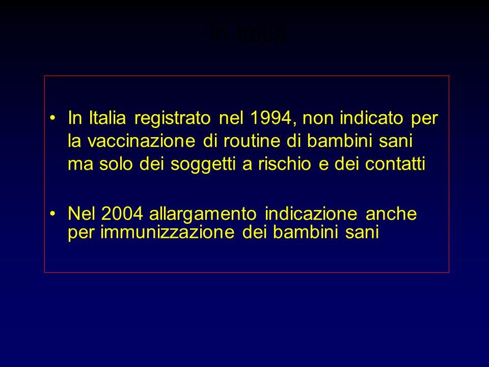 in Italia In Italia registrato nel 1994, non indicato per la vaccinazione di routine di bambini sani ma solo dei soggetti a rischio e dei contatti Nel