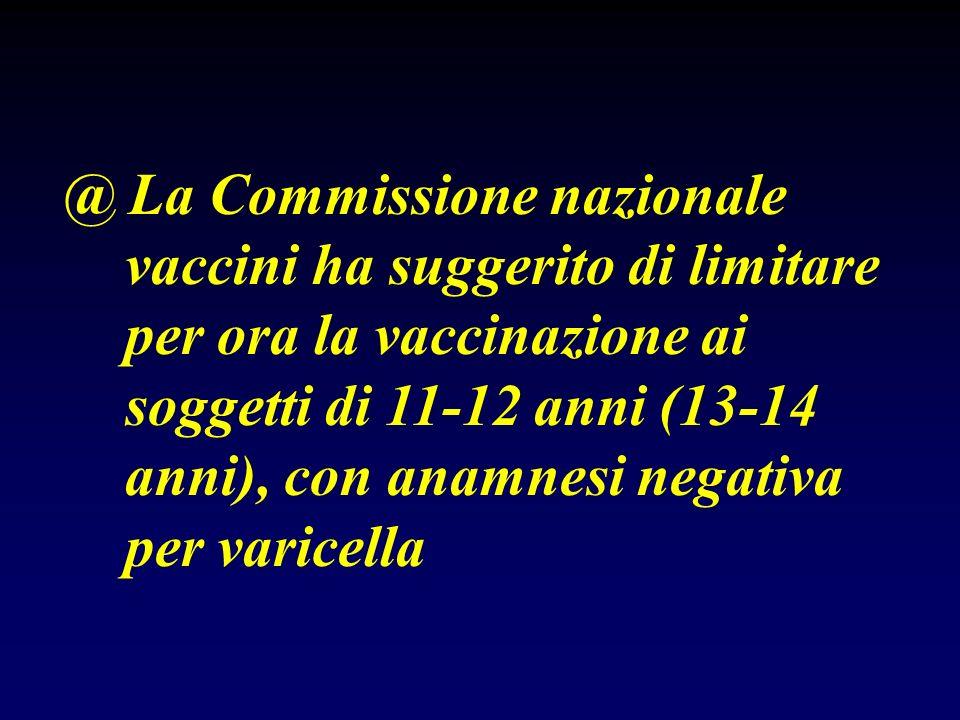 @ La Commissione nazionale vaccini ha suggerito di limitare per ora la vaccinazione ai soggetti di 11-12 anni (13-14 anni), con anamnesi negativa per