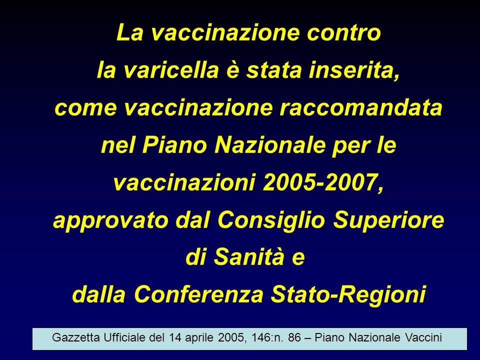 La vaccinazione contro la varicella è stata inserita, come vaccinazione raccomandata nel Piano Nazionale per le vaccinazioni 2005-2007, approvato dal