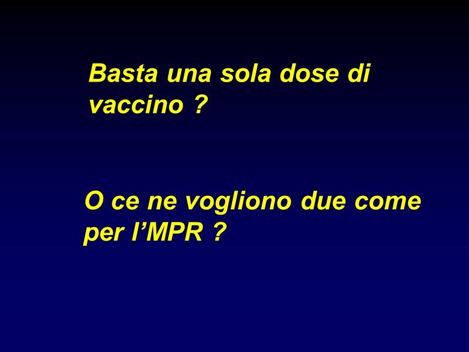 Basta una sola dose di vaccino ? O ce ne vogliono due come per lMPR ?