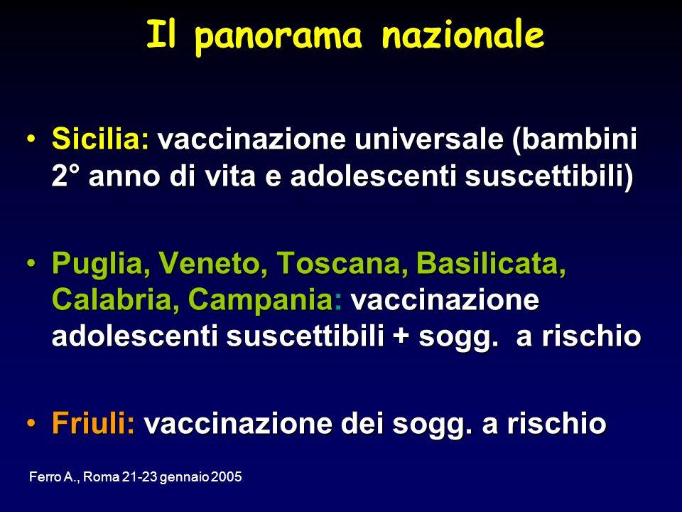 Il panorama nazionale Sicilia: vaccinazione universale (bambini 2° anno di vita e adolescenti suscettibili)Sicilia: vaccinazione universale (bambini 2