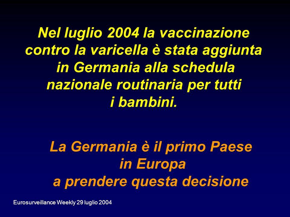 Nel luglio 2004 la vaccinazione contro la varicella è stata aggiunta in Germania alla schedula nazionale routinaria per tutti i bambini. La Germania è