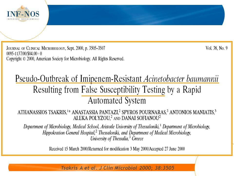 Tsakris A et al. J Clin Microbiol 2000; 38:3505