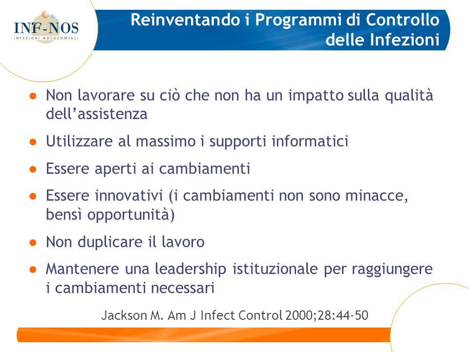 Reinventando i Programmi di Controllo delle Infezioni Non lavorare su ciò che non ha un impatto sulla qualità dellassistenza Utilizzare al massimo i s