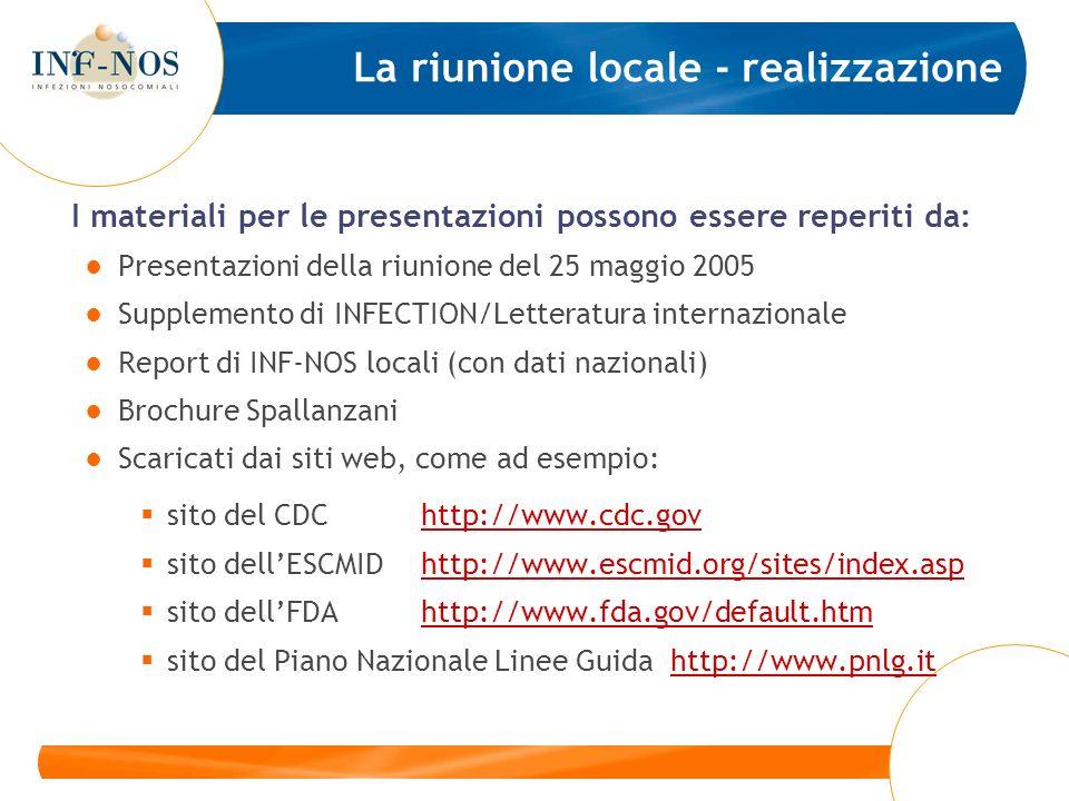 La riunione locale - realizzazione I materiali per le presentazioni possono essere reperiti da: Presentazioni della riunione del 25 maggio 2005 Supplemento di INFECTION/Letteratura internazionale Report di INF-NOS locali (con dati nazionali) Brochure Spallanzani Scaricati dai siti web, come ad esempio: sito del CDChttp://www.cdc.govhttp://www.cdc.gov sito dellESCMIDhttp://www.escmid.org/sites/index.asphttp://www.escmid.org/sites/index.asp sito dellFDA http://www.fda.gov/default.htmhttp://www.fda.gov/default.htm sito del Piano Nazionale Linee Guida http://www.pnlg.ithttp://www.pnlg.it
