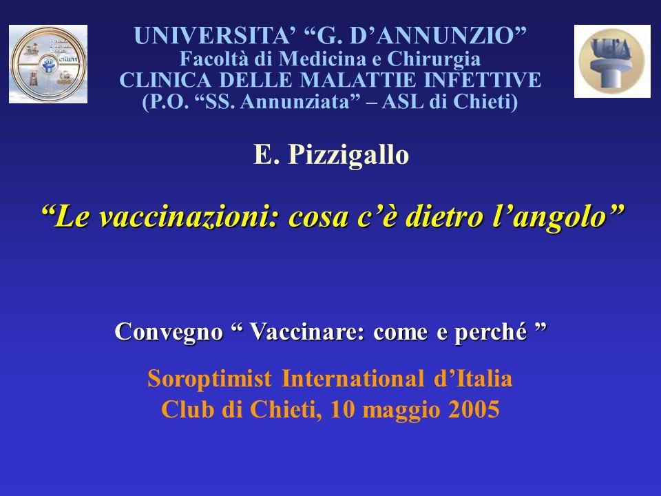 UNIVERSITA G. DANNUNZIO Facoltà di Medicina e Chirurgia CLINICA DELLE MALATTIE INFETTIVE (P.O. SS. Annunziata – ASL di Chieti) E. Pizzigallo Le vaccin