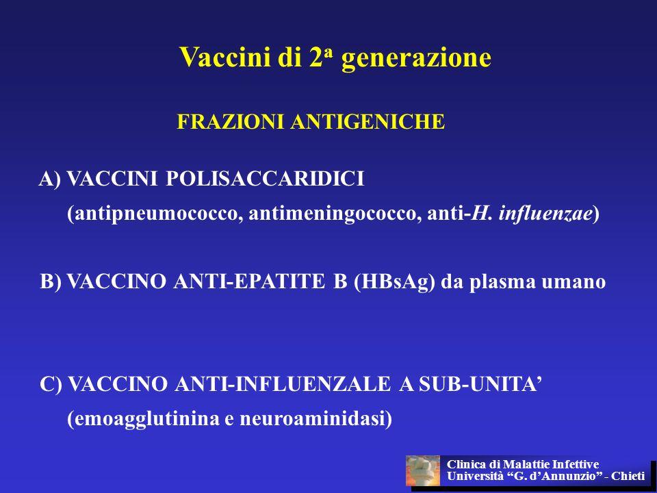 Vaccini di 2 a generazione FRAZIONI ANTIGENICHE A) VACCINI POLISACCARIDICI (antipneumococco, antimeningococco, anti-H. influenzae) B) VACCINO ANTI-EPA