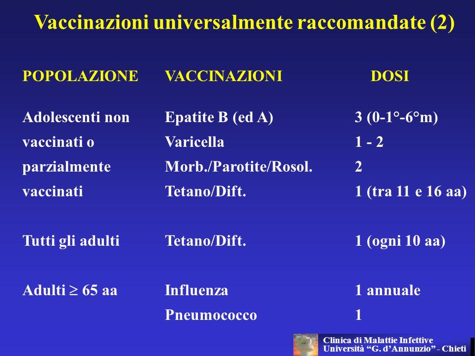 Vaccinazioni universalmente raccomandate (2) POPOLAZIONEVACCINAZIONI DOSI Adolescenti nonEpatite B (ed A)3 (0-1°-6°m) vaccinati o Varicella1 - 2 parzi