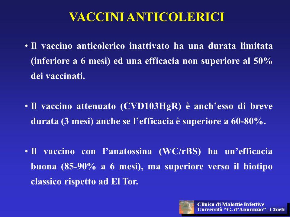 VACCINI ANTICOLERICI Il vaccino anticolerico inattivato ha una durata limitata (inferiore a 6 mesi) ed una efficacia non superiore al 50% dei vaccinat