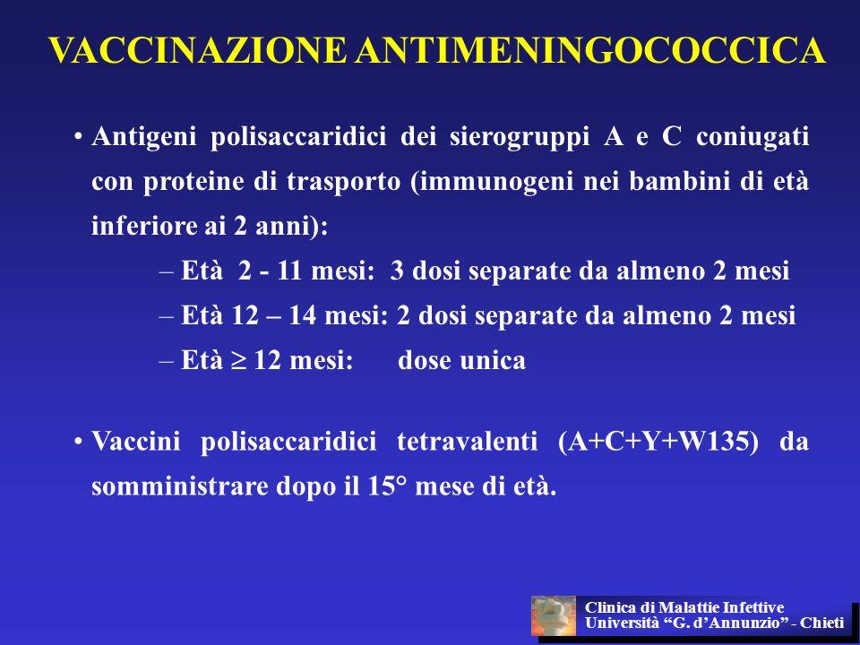 VACCINAZIONE ANTIMENINGOCOCCICA Antigeni polisaccaridici dei sierogruppi A e C coniugati con proteine di trasporto (immunogeni nei bambini di età infe