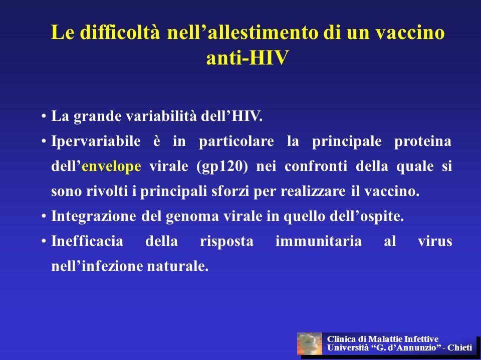 Le difficoltà nellallestimento di un vaccino anti-HIV La grande variabilità dellHIV. Ipervariabile è in particolare la principale proteina dellenvelop