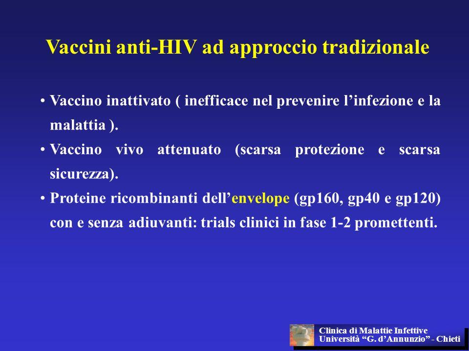 Vaccini anti-HIV ad approccio tradizionale Vaccino inattivato ( inefficace nel prevenire linfezione e la malattia ). Vaccino vivo attenuato (scarsa pr