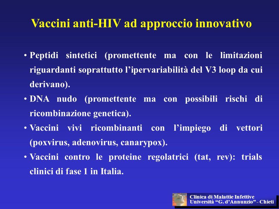 Vaccini anti-HIV ad approccio innovativo Peptidi sintetici (promettente ma con le limitazioni riguardanti soprattutto lipervariabilità del V3 loop da