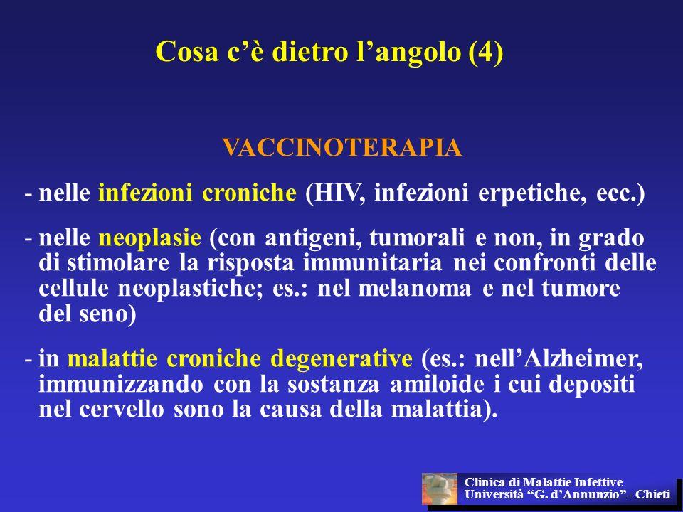 Cosa cè dietro langolo (4) VACCINOTERAPIA -nelle infezioni croniche (HIV, infezioni erpetiche, ecc.) -nelle neoplasie (con antigeni, tumorali e non, i