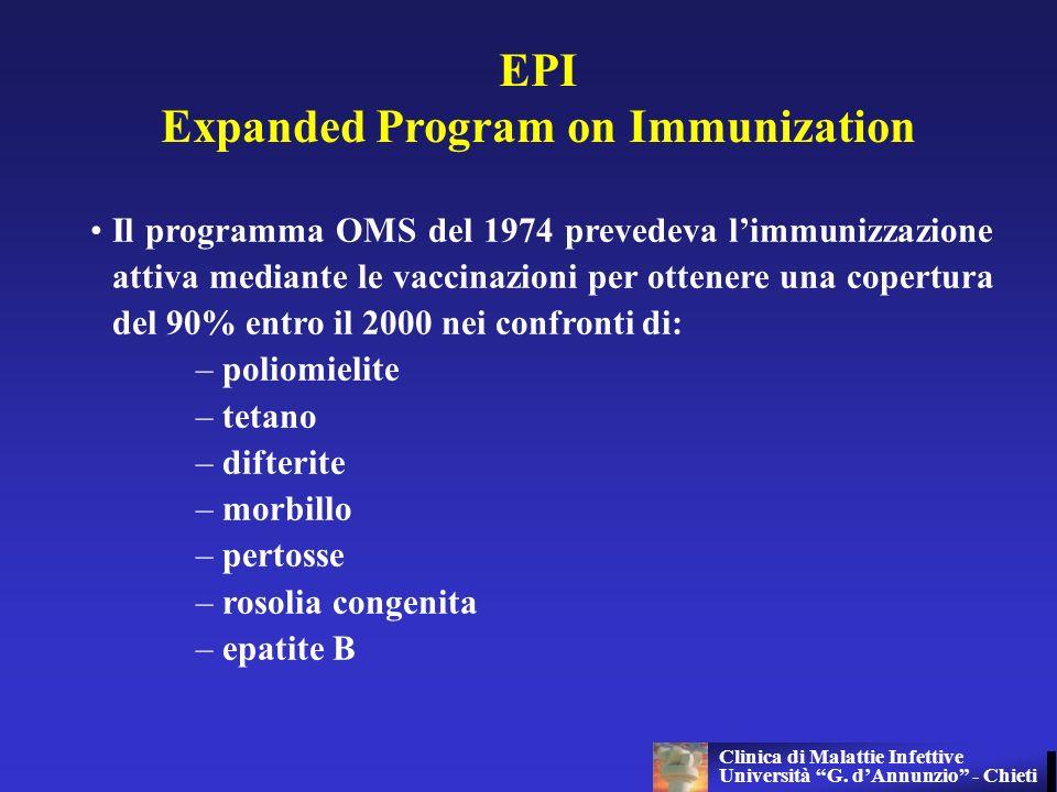 EPI Expanded Program on Immunization Il programma OMS del 1974 prevedeva limmunizzazione attiva mediante le vaccinazioni per ottenere una copertura de