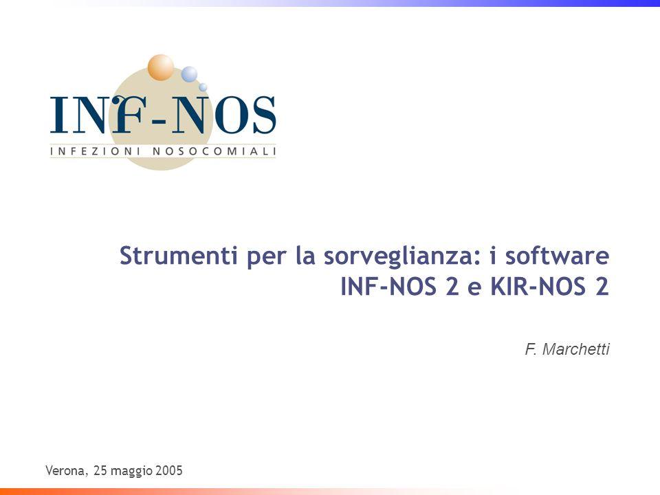 Strumenti per la sorveglianza: i software INF-NOS 2 e KIR-NOS 2 F. Marchetti Verona, 25 maggio 2005