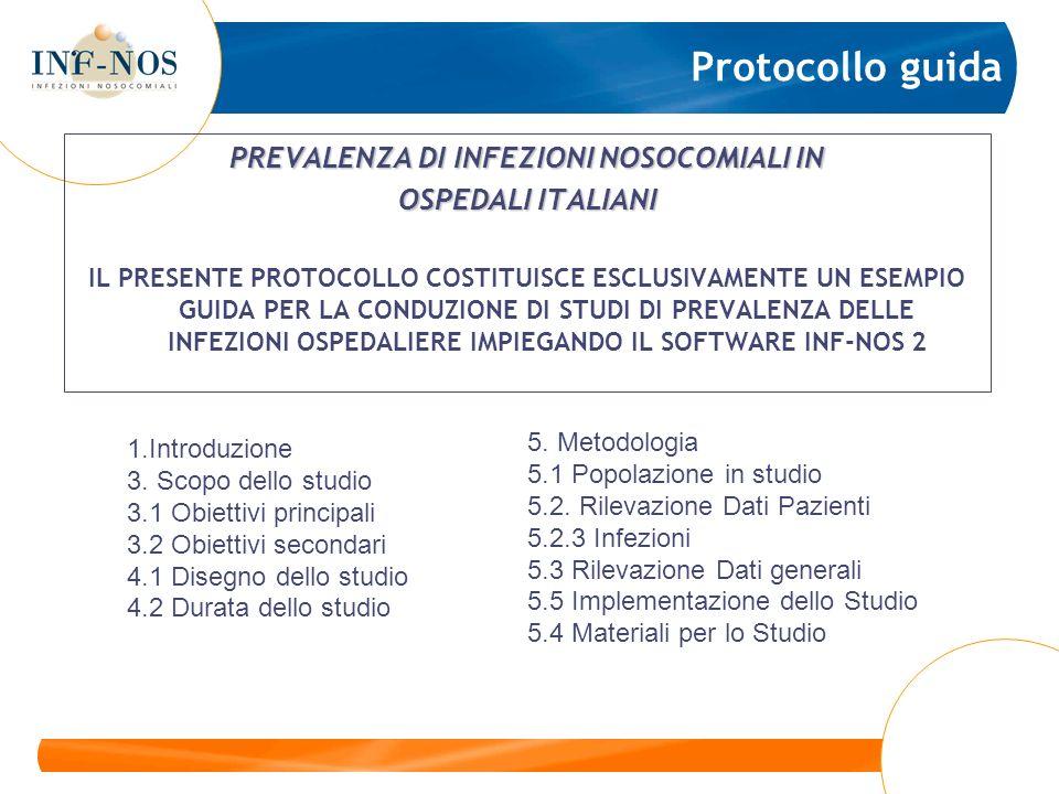 Protocollo guida PREVALENZA DI INFEZIONI NOSOCOMIALI IN OSPEDALI ITALIANI IL PRESENTE PROTOCOLLO COSTITUISCE ESCLUSIVAMENTE UN ESEMPIO GUIDA PER LA CO