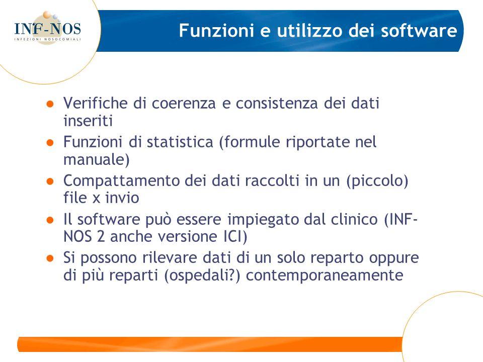 Funzioni e utilizzo dei software Verifiche di coerenza e consistenza dei dati inseriti Funzioni di statistica (formule riportate nel manuale) Compatta
