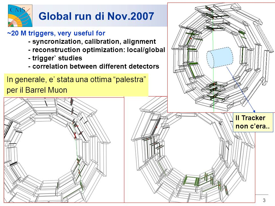 3 Global run di Nov.2007 ~20 M triggers, very useful for - syncronization, calibration, alignment - reconstruction optimization: local/global - trigger` studies - correlation between different detectors In generale, e stata una ottima palestra per il Barrel Muon Il Tracker non cera..