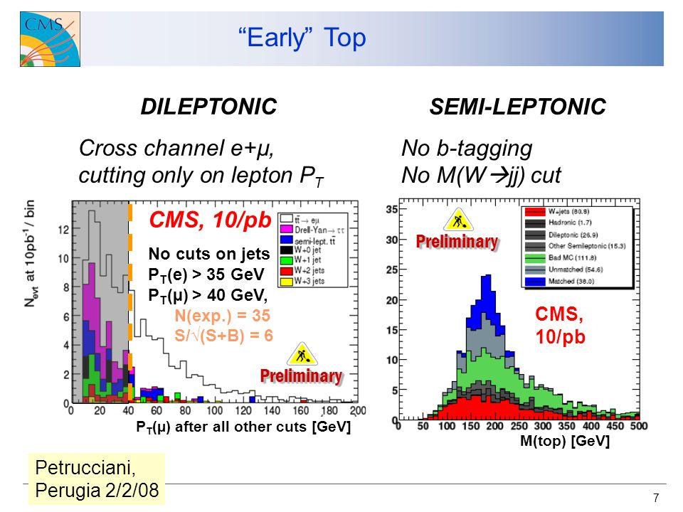 8 DY ad alta massa (& nuove risonanze…) CMS PTDR 100 pb -1 Ideal detector Misaligned detector (100 pb -1 scenario) Z models RS model, Graviton exclusion Come le distribuzioni potrebbero apparire nella reale presa dati: Z SSM Z