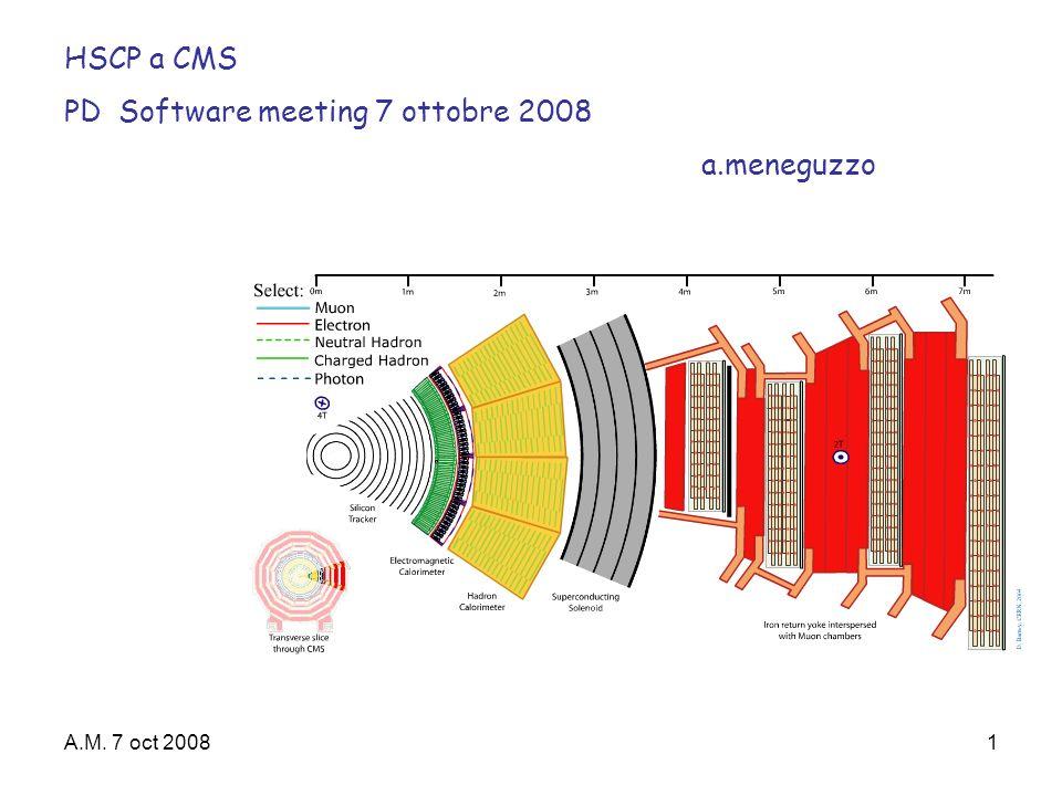 A.M. 7 oct 20081 HSCP a CMS PD Software meeting 7 ottobre 2008 a.meneguzzo