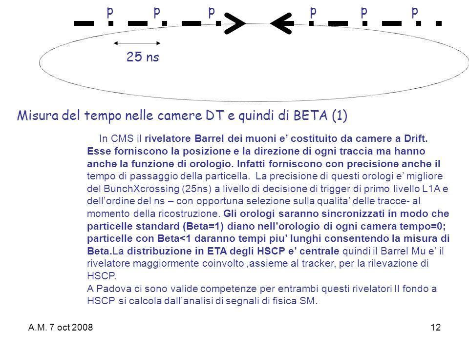 A.M. 7 oct 200812 pppppp 25 ns In CMS il rivelatore Barrel dei muoni e costituito da camere a Drift. Esse forniscono la posizione e la direzione di og