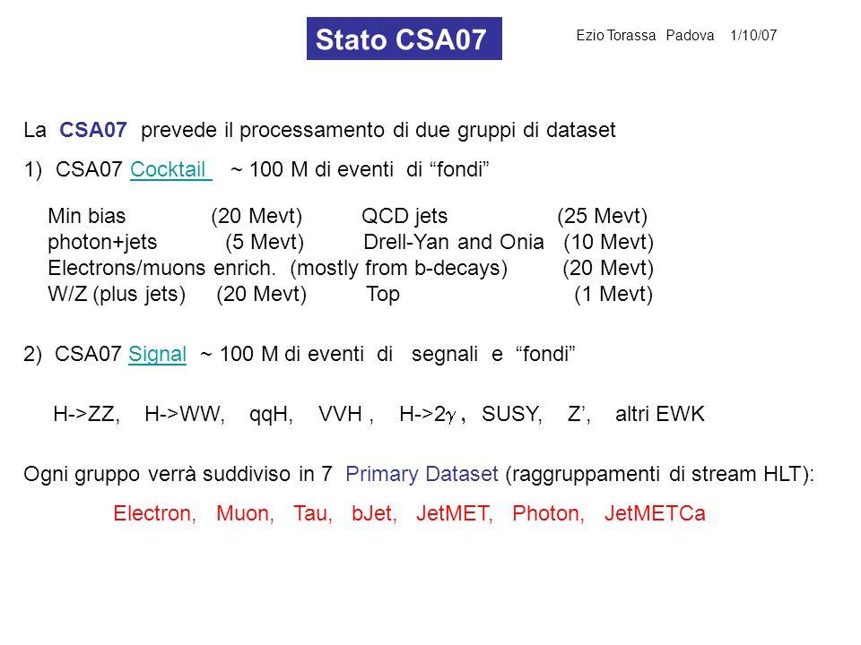 La CSA07 prevede il processamento di due gruppi di dataset 1)CSA07 Cocktail ~ 100 M di eventi di fondiCocktail Min bias (20 Mevt) QCD jets (25 Mevt) p
