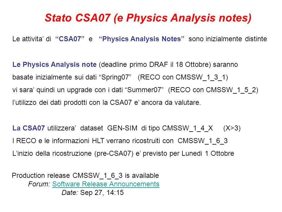 Stato CSA07 (e Physics Analysis notes) Le attivita di CSA07 e Physics Analysis Notes sono inizialmente distinte Le Physics Analysis note (deadline primo DRAF il 18 Ottobre) saranno basate inizialmente sui dati Spring07 (RECO con CMSSW_1_3_1) vi sara quindi un upgrade con i dati Summer07 (RECO con CMSSW_1_5_2) lutilizzo dei dati prodotti con la CSA07 e ancora da valutare.