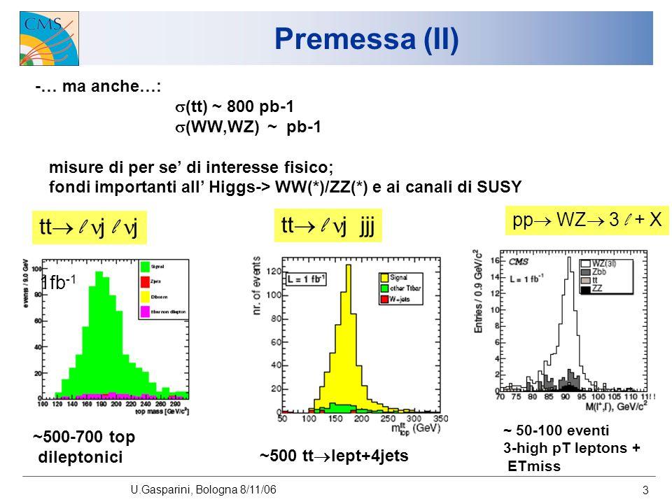 U.Gasparini, Bologna 8/11/06 3 Premessa (II) -… ma anche…: (tt) ~ 800 pb-1 (WW,WZ) ~ pb-1 misure di per se di interesse fisico; fondi importanti all Higgs-> WW(*)/ZZ(*) e ai canali di SUSY ~ 50-100 eventi 3-high pT leptons + ETmiss tt l j l j 1fb -1 pp WZ 3 l + X ~500-700 top dileptonici ~500 tt lept+4jets tt l j jjj