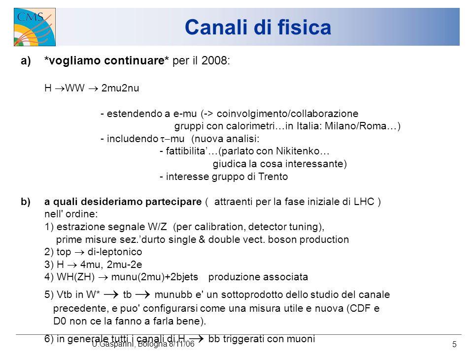 U.Gasparini, Bologna 8/11/06 5 Canali di fisica a)*vogliamo continuare* per il 2008: H WW 2mu2nu - estendendo a e-mu (-> coinvolgimento/collaborazione gruppi con calorimetri…in Italia: Milano/Roma…) - includendo mu (nuova analisi: - fattibilita…(parlato con Nikitenko… giudica la cosa interessante) - interesse gruppo di Trento b)a quali desideriamo partecipare ( attraenti per la fase iniziale di LHC ) nell ordine: 1) estrazione segnale W/Z (per calibration, detector tuning), prime misure sez.durto single & double vect.