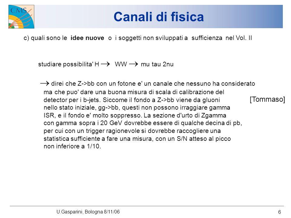 U.Gasparini, Bologna 8/11/06 6 Canali di fisica c) quali sono le idee nuove o i soggetti non sviluppati a sufficienza nel Vol.