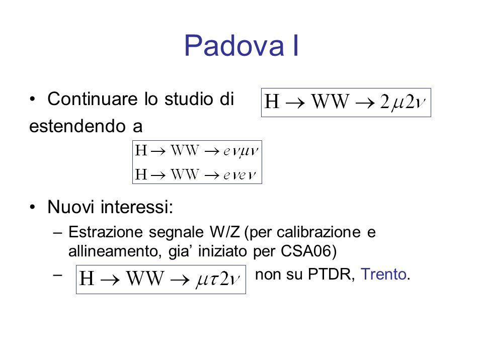 Padova I Continuare lo studio di estendendo a Nuovi interessi: –Estrazione segnale W/Z (per calibrazione e allineamento, gia iniziato per CSA06) – non su PTDR, Trento.