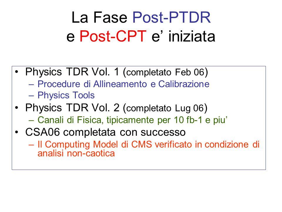 La Fase Post-PTDR e Post-CPT e iniziata Physics TDR Vol.