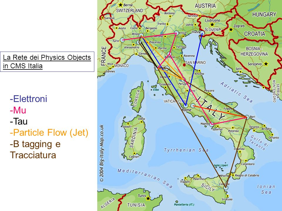 -Elettroni -Mu -Tau -Particle Flow (Jet) -B tagging e Tracciatura La Rete dei Physics Objects in CMS Italia