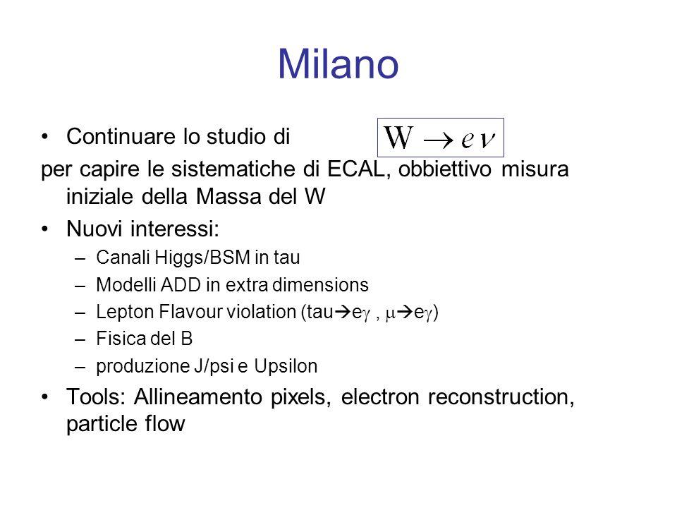 Pavia Contribuito a –Passare a fisica del top Contribuito a –Interesse in canali Higgs con tau Tools : iniziati studi di tracciatura nellambito dellattuale btau