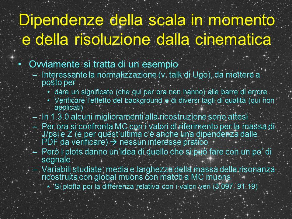 Dipendenze della scala in momento e della risoluzione dalla cinematica Ovviamente si tratta di un esempio –Interessante la normalizzazione (v.
