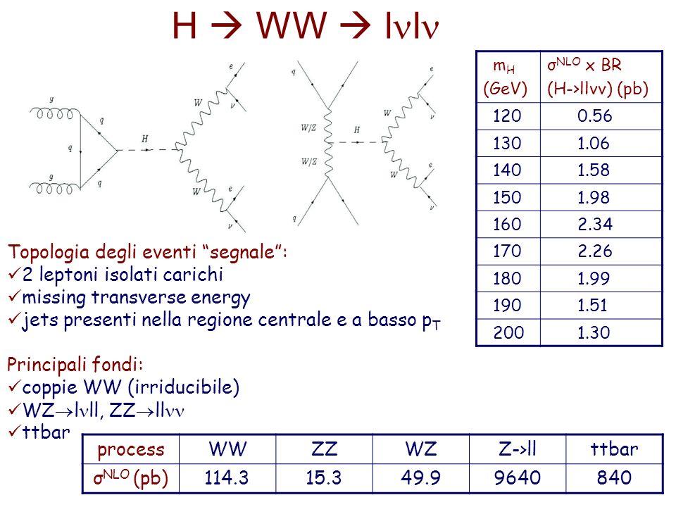 m H (GeV) σ NLO x BR (H->llνν) (pb) 120 0.56 130 1.06 140 1.58 150 1.98 160 2.34 170 2.26 180 1.99 190 1.51 200 1.30 Topologia degli eventi segnale: 2