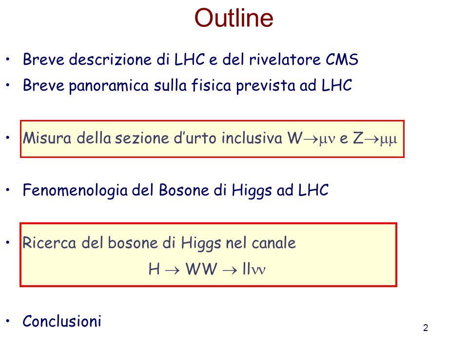 2 Outline Breve descrizione di LHC e del rivelatore CMS Breve panoramica sulla fisica prevista ad LHC Misura della sezione durto inclusiva W e Z Fenom