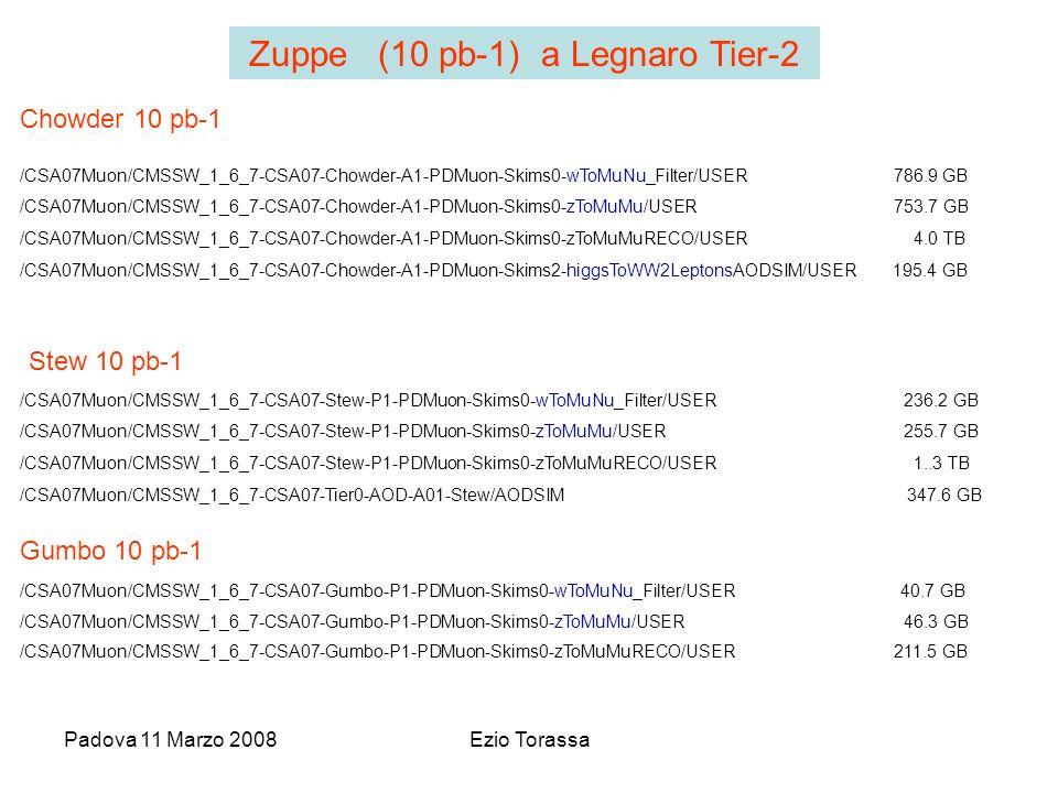 Padova 11 Marzo 2008Ezio Torassa /CSA07Muon/CMSSW_1_6_7-CSA07-Chowder-A1-PDMuon-Skims0-wToMuNu_Filter/USER 786.9 GB /CSA07Muon/CMSSW_1_6_7-CSA07-Chowder-A1-PDMuon-Skims0-zToMuMu/USER 753.7 GB /CSA07Muon/CMSSW_1_6_7-CSA07-Chowder-A1-PDMuon-Skims0-zToMuMuRECO/USER 4.0 TB /CSA07Muon/CMSSW_1_6_7-CSA07-Chowder-A1-PDMuon-Skims2-higgsToWW2LeptonsAODSIM/USER 195.4 GB Chowder 10 pb-1 /CSA07Muon/CMSSW_1_6_7-CSA07-Gumbo-P1-PDMuon-Skims0-wToMuNu_Filter/USER 40.7 GB /CSA07Muon/CMSSW_1_6_7-CSA07-Gumbo-P1-PDMuon-Skims0-zToMuMu/USER 46.3 GB /CSA07Muon/CMSSW_1_6_7-CSA07-Gumbo-P1-PDMuon-Skims0-zToMuMuRECO/USER 211.5 GB Gumbo 10 pb-1 /CSA07Muon/CMSSW_1_6_7-CSA07-Stew-P1-PDMuon-Skims0-wToMuNu_Filter/USER 236.2 GB /CSA07Muon/CMSSW_1_6_7-CSA07-Stew-P1-PDMuon-Skims0-zToMuMu/USER 255.7 GB /CSA07Muon/CMSSW_1_6_7-CSA07-Stew-P1-PDMuon-Skims0-zToMuMuRECO/USER 1..3 TB /CSA07Muon/CMSSW_1_6_7-CSA07-Tier0-AOD-A01-Stew/AODSIM 347.6 GB Stew 10 pb-1 Zuppe (10 pb-1) a Legnaro Tier-2