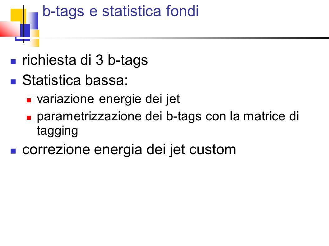 b-tags e statistica fondi richiesta di 3 b-tags Statistica bassa: variazione energie dei jet parametrizzazione dei b-tags con la matrice di tagging correzione energia dei jet custom